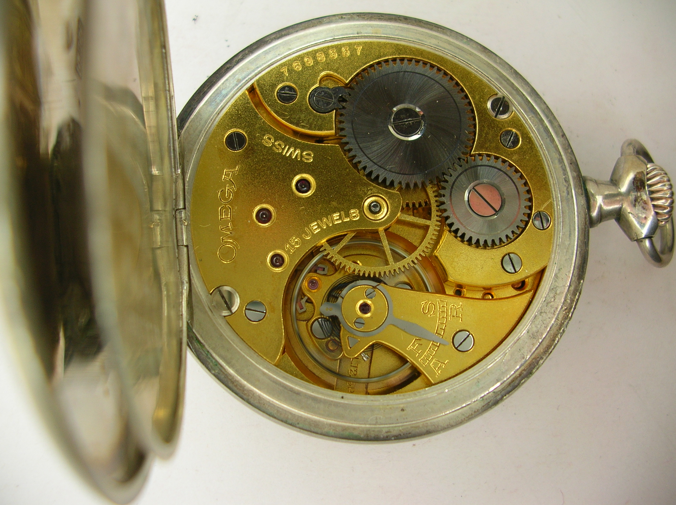 a7e0515815554 ... 50mm[back]another view [view]another view [view], near mint Original  dial, Porcelain, subsidiary seconds .. Elegant Omega pocket watch in silver.